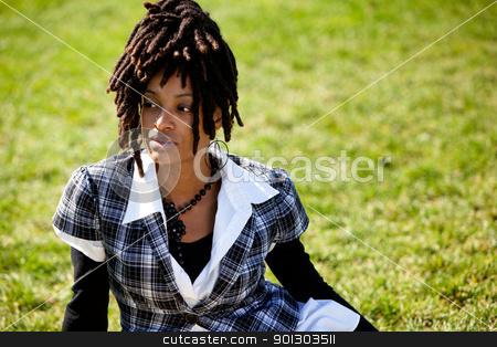 Beautiful African American stock photo, A beautiful African American woman isolated on grass by Tyler Olson