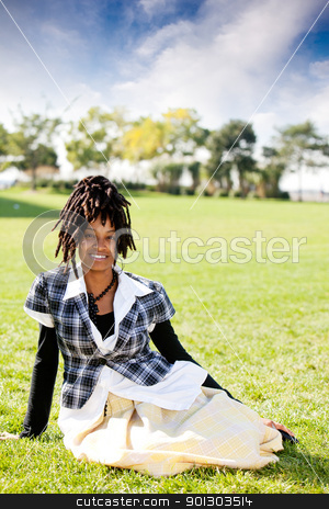Casual Portrait Woman stock photo, A casual portrait of an African American woman by Tyler Olson