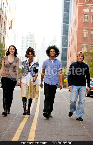 City People stock photo, A group of young adults in the city on a street by Tyler Olson