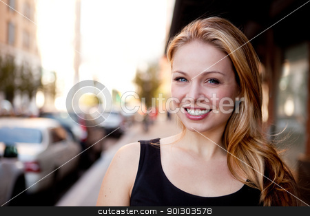 Pretty Business Woman stock photo, A street portrait of a beautiful business woman by Tyler Olson