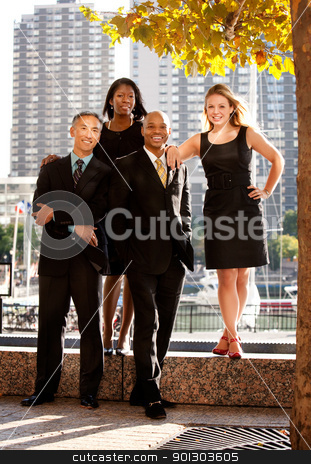 Casual Business Portrait stock photo, A business team portrait in an outdoor setting by Tyler Olson