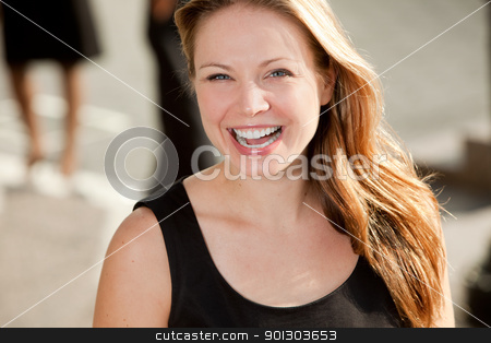 Pretty Blond Woman stock photo, A portrait of a pretty blond woman with black dress by Tyler Olson