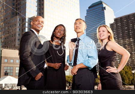 Business Future stock photo, A group of business people looking out of the frame - future concept by Tyler Olson