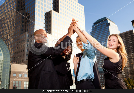 Business Achievement stock photo, A group of business people happy and celebrating by Tyler Olson