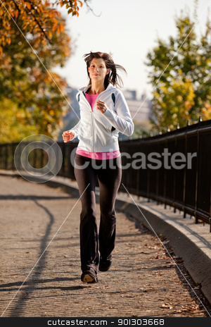 Woman Jogging stock photo,  A young woman jogging in the park on a path by Tyler Olson