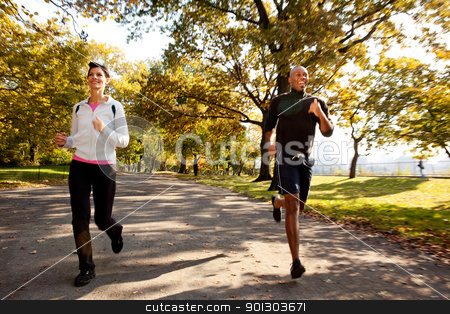 Running stock photo, Two runners in a park with slight motion blur by Tyler Olson