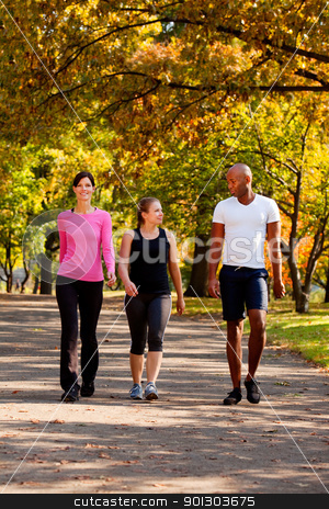 Exercise Park stock photo, Three people walking in a park, getting some exercise by Tyler Olson