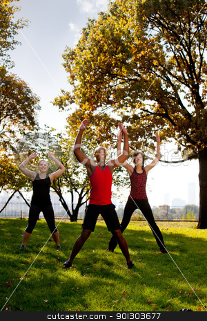 Park Exercise stock photo, A group of people doing jumping jacks in the park by Tyler Olson