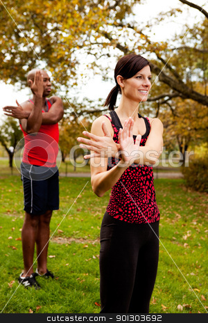 Fitness Stretch stock photo, A group of people stretching in the park by Tyler Olson