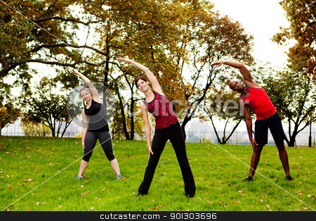 Fitness park stock photo, A group of people stretching in a park by Tyler Olson