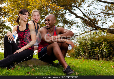 Exercise Group stock photo, A group of young adults resting after exercise in the park by Tyler Olson