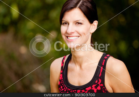 Fitness stock photo, A happy fitness woman in the park - lifestyle portrait by Tyler Olson