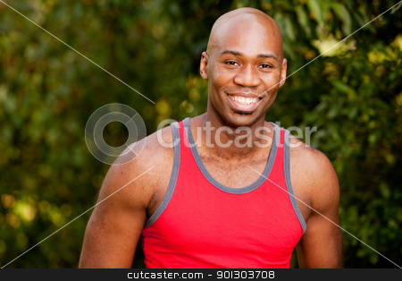 Fitness Portrait stock photo, A portrait of an african american man taking a break from exercising by Tyler Olson