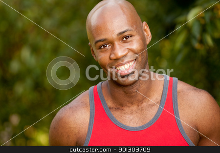 Exercise Portrait stock photo, A portrait of an African American man taking a break while exercising by Tyler Olson