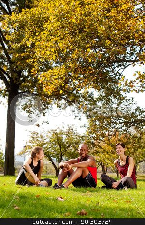 Relax Park Summer stock photo, A group of people relaxing in the park after exercise by Tyler Olson
