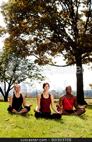 Meditate City stock photo, A group of people meditation in a city park by Tyler Olson
