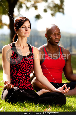 Meditate stock photo, Two people meditating in a city park on a sunny day by Tyler Olson