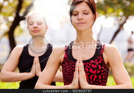 Yoga stock photo, Meditation in the a park on a warm summer day by Tyler Olson