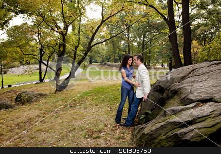 Fun Couple stock photo, A couple having fun in a park by Tyler Olson