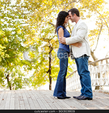 Smile Engagement Couple stock photo, A happy couple in the park looking at the camera and hugging by Tyler Olson