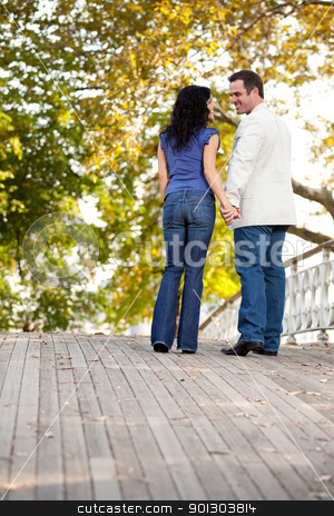 Engagement Couple stock photo, A happy engagement couple walking in the park on a beautiful day by Tyler Olson