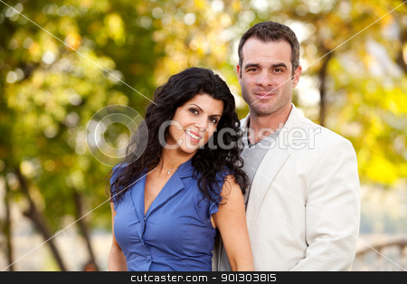 Portrait stock photo, A portrait of a happy male and female in a park by Tyler Olson