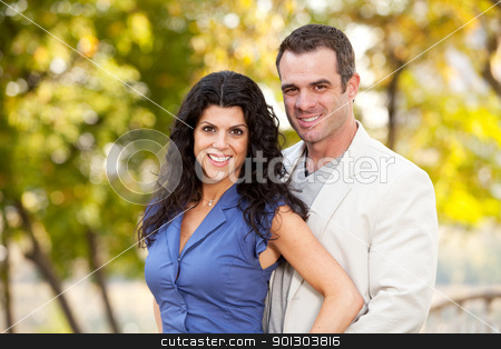 Man Woman Portrait stock photo, A portrait of a happy male and female in a park by Tyler Olson
