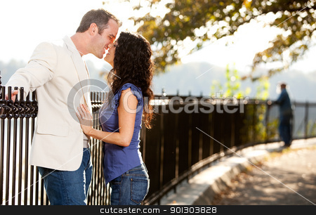 Love Kiss stock photo, A happy couple in love kissing in the park by Tyler Olson