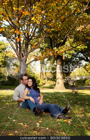 Married Love stock photo, A couple in love in the park by Tyler Olson