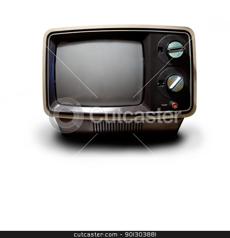 Retro TV stock photo, An old retro TV isolated on white with drop shadow with clipping path by Tyler Olson