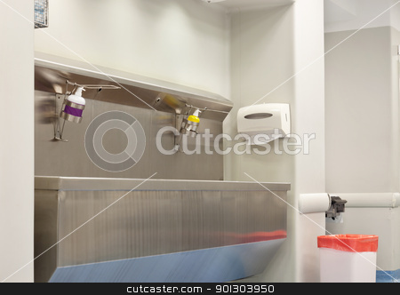 Hospital Wash Station stock photo, A hospital pre surgery wash station by Tyler Olson
