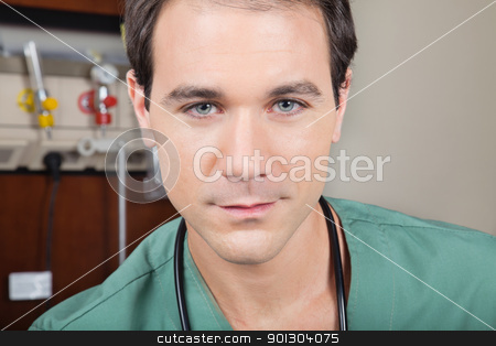 Portrait of male doctor stock photo, Portrait of confident male doctor in hospital by Tyler Olson