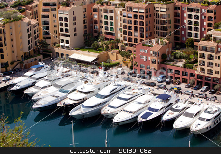 Yacht Harbor stock photo, A row of yachts in Monaco, Monte Carlo by Tyler Olson