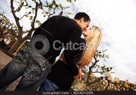 Europe City Kiss stock photo, A couple kissing in a urban city park in France by Tyler Olson