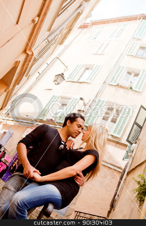 European Couple stock photo, A happy european couple in a small quaint street by Tyler Olson