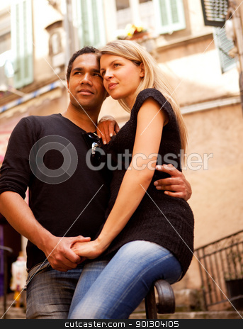 Europe Couple France stock photo, A couple in a quaint european street, France by Tyler Olson