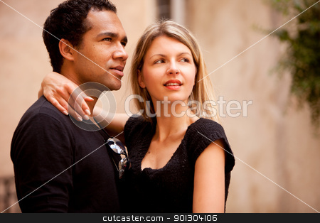 Beautiful Couple stock photo, A beautiful couple in an outdoor urban setting by Tyler Olson
