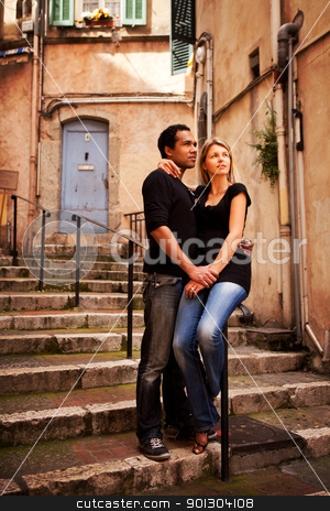 Europe Street Couple stock photo, An attractive couple in a quaint european street by Tyler Olson