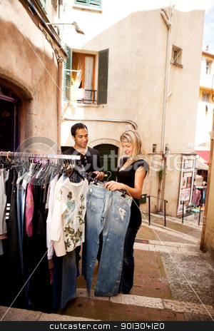 Shopping Europe stock photo, A happy couple shopping in a small street in europe by Tyler Olson