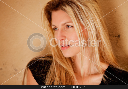 Flirt Woman Portrait stock photo, A portrait of a beautiful flirting woman by Tyler Olson