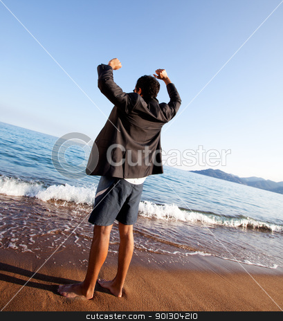 Business Freedom stock photo, A business man with outstretched arms - freedom, success concept by Tyler Olson