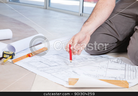 Man holding pencil stock photo, Close-up of human hand holding pencil on by Tyler Olson