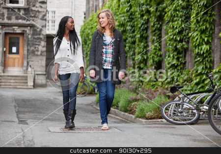 Young female friends having a chat while walking stock photo, Two young friends having a casual chat while walking on street by Tyler Olson