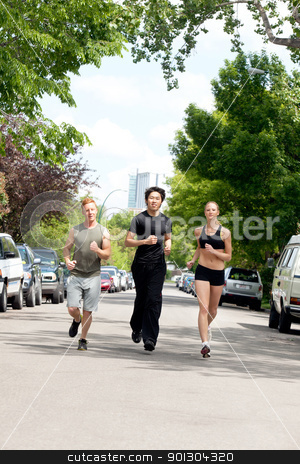 People running on the street stock photo, Friends jogging on the street by land vehicle by Tyler Olson