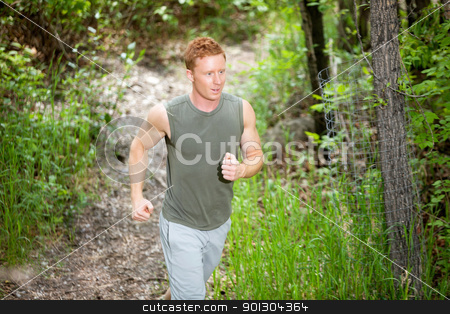 Young man jogging stock photo, Handsome man running in forest against blur background by Tyler Olson
