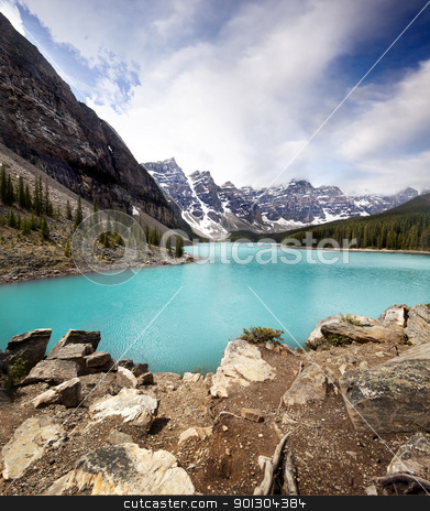 Moraine Lake  stock photo, Landscape of Moraine Lake, Banff National Park, Alberta, Canada by Tyler Olson