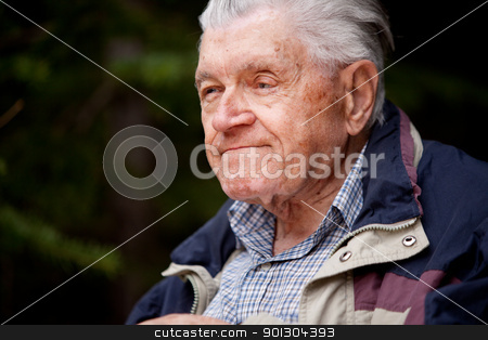 Elderly Man stock photo, A portrait of an elderly man in the forest by Tyler Olson