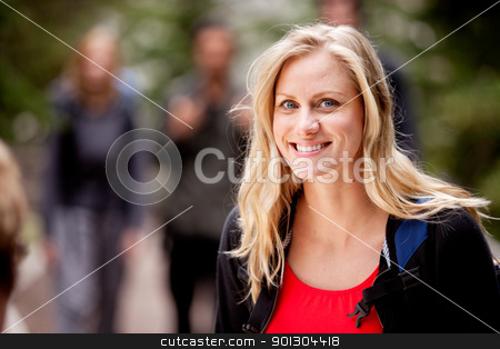 Woman Portrait stock photo, A portrait of a woman outdoors in the forest by Tyler Olson