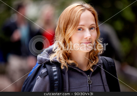 Outdoor Woman stock photo, A happy woman outdoors on a hiking trip by Tyler Olson