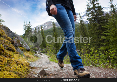 Hike Detail in Mountains stock photo, A person hiking in Banff National Park, Alberta, Canada by Tyler Olson